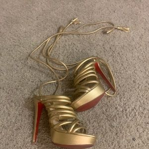 Gold Christian Louboutin Sandals